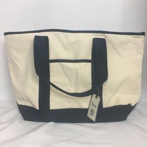 Bass Canvas Zipper Tote Bag, NWT